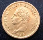 Rara Moeda da ITÁLIA - Reino da SARDENHA, Valor 20 Liras, Ano 1829, Ouro, Peso 6,4 g, Diâmetro 21 mm, Soberba/Flor de Cunho.