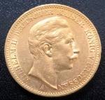 Moeda da ALEMANHA - PRÚSSIA, Valor 20 Mark, Ano 1898 A, Ouro, Peso 8 g, Diâmetro 22 mm, Soberba/Flor de Cunho.