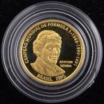 Moeda Comemorativa do Brasil, Homenagem a Ayrton Senna, Valor 20 Reais, Ano 1995, Ouro, Peso 8 g, Diâmetro 22 mm, Estojo Original com Certificado, Proof - Flor de Cunho.