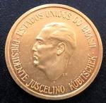 Medalha Comemorativa do Brasil, Fundação de Brasília - Presidente JK, Data 21 de Abril de 1960, Ouro, Peso 10 g, Diâmetro 25 mm, Soberba.