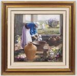 MANOEL COSTA - Floristas - Óleo sobre Tela, assinado no CID. Ricamente emoldurado. Med: 60 x 60cm (Obra) e 92 x 92cm (Total)