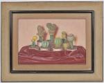 DIMITRI ISMAILOVITCH (Ucrania 1890 - Rio de Janeiro 1976) - Natureza Morta - OST Assinado no CID, Carimbado no verso. Med: 54 x 36cm (Obra) e 82 x 64cm (Total)