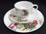 Trio, xicara de chá, pires e prato de sobremesa em porcelana com desenhos flora e fauna brasileira - Diâmetros;  15 cm ( pires) , 19 cm ( prato sobremesa) e 9 cm ( xicara)