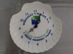 Relógio de parede em porcelana em forma de concha, novo  na caixa , - Diâmetro: 15 cm, e Altura: - 20 cm Lote nao testado