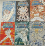 Seis revistas Cavaleiros do Zodíaco.