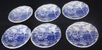 Lote com seis pirex em porcelana com cena Inglesa  Vitramik Oxford ( Peças com bicados e desgaste do tempo)
