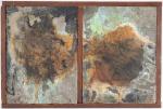 JOSÉ BECHARA - Díplico em oxidação de aço, emulsão cúprica e óleo sobre tela montados em estrutura de jacarandá. Assinado no verso. Med. 33 x 22 cm.