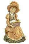 Belíssima Escultura, representando Moça com pássaros na cesta, executada em resina. Dimensões: 21 cm X 15 cm X 13 cm (Alt./Comp./Larg.). Pequena perda na ponta do sapato. xxxv