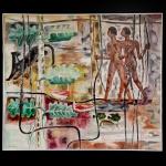 JOHN GRAZ (Genebra, 1891 - São Paulo, 1980) - Índios Caçadores.  Óleo s/ tela. Ass. e datado cie, 74. 130 x 150 cm.  Apresenta no verso cache do MNBA (Museu Nacional de Belas Artes). Rio de Janeiro. Pintor, decorador, escultor e artista gráfico. Ingressa no curso de arquitetura, decoração e desenho da Escola de Belas Artes de Genebra em 1908, onde é aluno de Eugène Gilliard (1861-1921), Gabriel Vernet e Daniel Baud-Bovy (1870-1958). É discípulo também de Edouard Ravel, com quem aprende uma multiplicidade de técnicas e estilos. De 1911 a 1913, na Escola de Belas Artes de Munique, estuda decoração, design e publicidade com Carl Moos (1873-1959). Retorna à Escola de Belas Artes de Genebra, onde permanece de 1913 a 1915, período em que passa boa parte do tempo em companhia dos irmãos Regina Gomide (1897-1973) e Antonio Gomide (1895-1967). Viaja a Paris, onde se familiariza com o trabalho de Paul Cézanne (1839-1906) e entra em contato com o cubismo, o fauvismo e o futurismo. Recebe, por duas vezes, a Bolsa Lissignol e parte para estudos na Espanha. De volta a Suíça, realiza vários trabalhos como ilustrador. Em 1920, vem para o Brasil e, nesse mesmo ano, casa-se em São Paulo com Regina Gomide. Por intermédio de Oswald de Andrade (1890-1954) o casal passa a fazer parte da vida intelectual da cidade. Graz participa da Semana de Arte Moderna de 1922, expondo sete obras. A partir de 1923, executa projetos de decoração de residências: cria inúmeros vitrais e realiza design de móveis e peças como portas, fechaduras, luminárias, tapetes e afrescos. É considerado, com Regina e Antonio Gomide, um dos introdutores do estilo art déco em São Paulo. Trabalha com Gregori Warchavchik, recém-chegado ao país, decorando as casas projetadas pelo arquiteto russo. Em 1925, Graz apresenta em São Paulo móveis tubulares, feitos de canos metálicos e laminados de madeira, com formas geometrizadas. Dotado de grande conhecimento técnico e fabril, acompanha pessoalmente a produção das peças no Liceu 