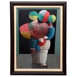 INOS CORRADIN (Vogogna, Itália (14/11/1929) - Equilibrista. Óleo s/ tela. Ass. cie e verso. 70 x 50 cm (MI). 84 x 63 cm (ME). Este lote encontra-se em Belo Horizonte, MG, e só estará disponível em nossa loja a partir do dia 13 de Outubro. Artista figurativista, dedicou-se a paisagens, naturezas-mortas e figuras, tratadas estilizadamente, com cores e tons iluminados. Passou a infância e adolescência em Castelbaldo, província de Padova, onde teve aulas de pintura com Tardivello. Em 1947 trabalhou em um monumento em homenagem aos mártires da resistência italiana contra o fascismo, erguido em Castelbado. Muda-se para o Brasil em 1950, fixando-se em Judiaí, São Paulo. É convidado pelo pintor argentino Osvaldo Navarro a fazer parte do núcleo artístico do Atelier Cooperativa Politone, na Vila Mariana, São Paulo, em 1951. Visita em Salvador, em 1953, onde conhece diversos artistas, como Mário Cravo Júnior, Rubens Valentin, Caribè, Jenner Augusto e Mirabeau Sampaio, o crítico Wilson Rocha e o cantor e compositor Dorival Caymmi. Participou da equipe de cenógrafos do Balé do IV Centenário de São Paulo em 1954 e executa cenários para balés e peças teatrais para Rugero Giacobbi e Aldo Cravo.