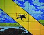 TOMOSHIGE KUSUNO, Composição c/ pássaro - gravura 24/50 - 47x59 cm - acid.