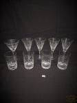 Jogo de 7 taças em cristal  lapidado diversos modelos . sendo 2 copos de suco , 3 vinho 1 taça aberta