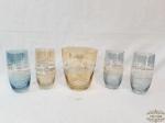 Jogo De Champanheira Com 4 Copos Cristal Colorido Medida: Champanheira 11cm de altura x 13cm de diâmetro4 Copos 14,5 cm altura x 6 cm diametro