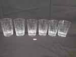 Jogo de 6 copos  suco   em Cristal lapidado com Folhas. Medida: 11 cm x 6,5 cm