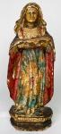 BARROCO - Fabulosa e rara imagem de Nossa Senhora do bom parto, impressionantemente esculpida em madeira nobre durante periodo barroco mineiro, com acabamento em rica policromia. Mede 22 cm.