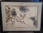 Chang - Pássaros na arvore- desenho aquarelado - ACIE - Circa 86 - Medida total com moldura aprox. 46 x 61 cm