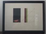 VALÉRIO RODRIGUES. Abstrato. Linda e diferente serigrafia colorida. 38x52cm. Na margem inferior, a lápis: à esq., tiragem: 1/5; à dir., assinado e datado 88. Emoldurado e pretegido por vidro.