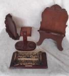 Porta bíblia em madeira, quadrinho da santa ceia em madeira e resina, e 3 objeto de madeira.