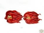 2 Mascaras Decorativas em Couro . Medida: 23 cm x 15 cm.