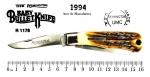Colecionismo/canivete - Excelente canivete Remington Baby Bullet. Talas em estag natural (não é material sintético, pois é resistente ao calor). Canivete novo e ainda em sua caixa original. Peça numerada (1980) no bolster e marcado na lâmina o ano de sua manufatura (1994). Peça nova, sem uso algum, perfeitamente funcional. Caixa também em muito bom estado de conservação, com mínimas marcas de manuseio, levando-se em consideração os seus quase 30 anos de uso. O Canivete mede 16,2 cm com a lâmina principal aberta e 9,0 cm fechado. Peça raramente encontrada neste estado de conservação.