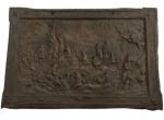 Antiga placa em Metal com representação da obra PRIMEIRA MISSA NO BRAZIL, de VICTOR MEIRELLES. Inscrição relativa ao fabricante: PASSAMANARIAS - G. CAIELLI - S. PAULO. Mede aprox. 22,7 x 15,5 cm