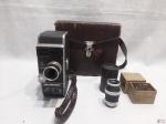 Paillard-Bolex, filmadora modelo L 8, fabricada na década de 1940/50, a corda, motor funcionando, Uma raridade pela conservação. Acompanha estojo original e acessórios.