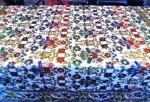 """FORMOSA TOALHA de BANQUETE MARROQUINA  -  Produzida na década de 50 , em tecido de ótima qualidade e em perfeito estado (PARECE SEM USO ) com decoração estampada de flores e largas gregas com fios de ouro. Possibilidade de utilização em """" Double Face """" com ornamentação de flores cinzas em fundo vinho e verde musgo. MARAVILHOSA  ! ! ! Medidas 220 x 195 cm."""