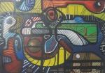 R. BURLE-MARX, panneaux, abstrato, medindo 170 x 120 cm.