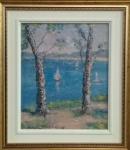 MANOEL SANTIAGO, óleo sobre placa, representando paisagem, medindo 20 x 24 cm.