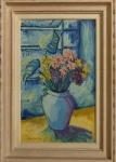 AM002, MANOEL SANTIAGO, óleo sobre tela, representando vaso com flores, medindo 40 x 65 cm.