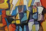 R. BURLE-MARX, óleo sobre tela, abstrato, medindo 205 x 141 cm.
