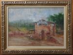 IRACEMA ALMEIDA, óleo sobre tela, representando paisagem com figuras, medindo 45 x 32 cm. Necessita