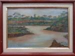 AM000, EMÍLIA, óleo sobre placa, representando paisagem, medindo 23 x 15 cm. Necessita restauro.