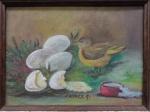 AM000, CARMEM G., óleo sobre tela, representando flores e pássaro, medindo 21 x 15 cm.