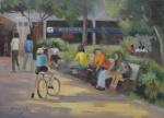 AM005, JUINARD, óleo sobre tela, representando cena urbana, medindo 33 x 24 cm. Sem moldura.