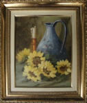 AM071, LIZETE, óleo sobre placa, representando natureza morta, medindo 23 x 29 cm.