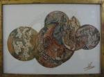 AM071, ASSINATURA ILEGÍVEL, técnica mista sobre cartão, abstrato, medindo 46 x 33 cm.