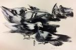 AM085, HÉRCULES RODRIGUEZ, aquarela, representando pássaros, medindo 29 x 19 cm. Sem moldura.