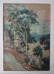 AM008, HAGEDORN, aquarela, representando paisagem com figuras, medindo 25 x 36 cm. Sem moldura.