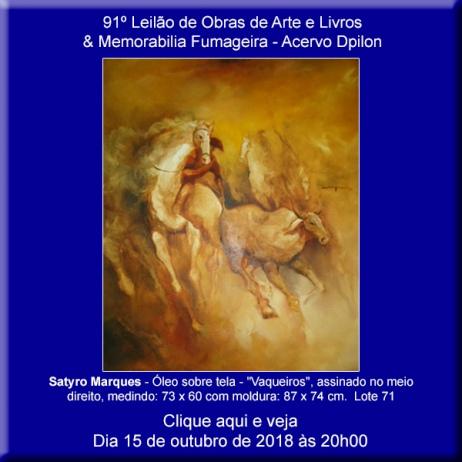 91º Leilão de Obras de Arte em Especial Arte Sacra e Popular & Memorabilia Fumageira - 15 de Outubro