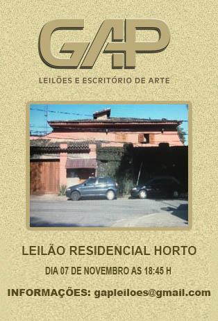 LEILÃO RESIDENCIAL HORTO DE ARTES E ANTIGUIDADES