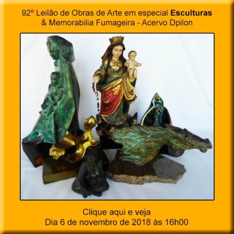 92º Leilão de Obras de Arte em Especial Esculturas & Memorabilia Fumageira - 6 de Novembro