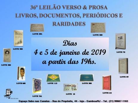 36º LEILÃO VERSO & PROSA - LIVROS, DOCUMENTOS, PERIÓDICOS & RARIDADES