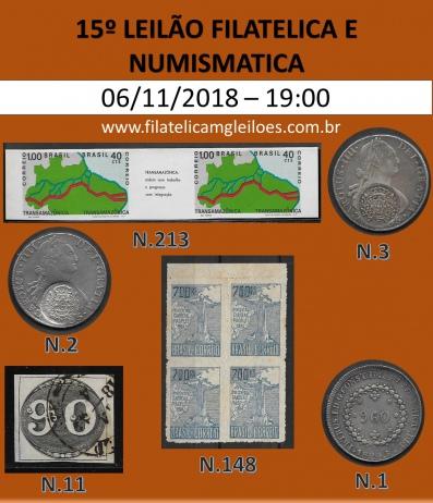 15º Leilão de Filatelia e Numismática Filatélica MG Leilões