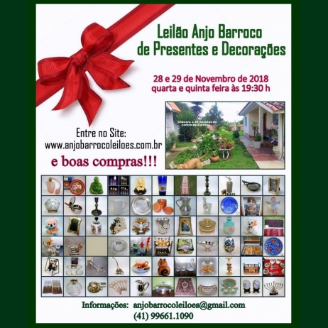 LEILÃO ANJO BARROCO DE PRESENTES, DECORAÇÃO E IMÓVEL,
