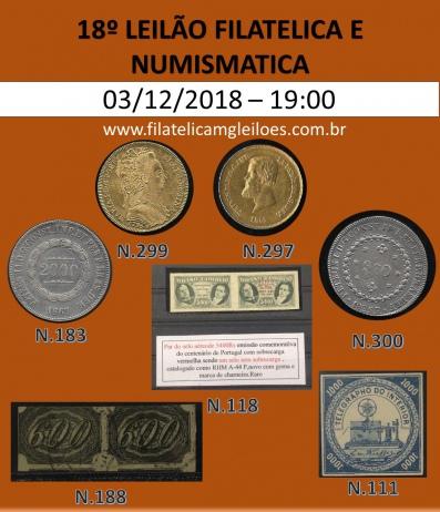 18º Leilão de Filatelia e Numismática Filatélica MG Leilões