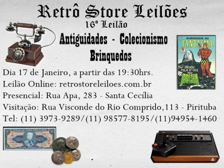 16 º Leilão de Brinquedos, Colecionismo e Antiguidades