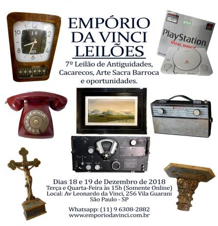 7º Leilão do Empório da Vinci de Antiguidades - Cacarecos, Arte Sacra Barroca e Oportunidades