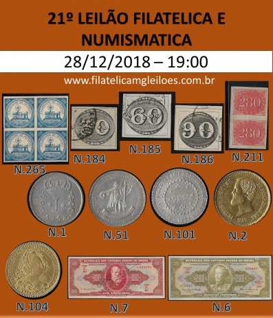 21º Leilão de Filatelia e Numismática Filatélica MG Leilões