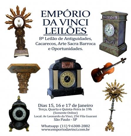 8º Leilão do Empório da Vinci de Antiguidades - Cacarecos - Arte Sacra e Oportunidades
